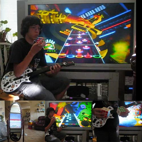 Kid Plays Guitar Hero And Solving 2 Rubik's Cubes Simultaneously
