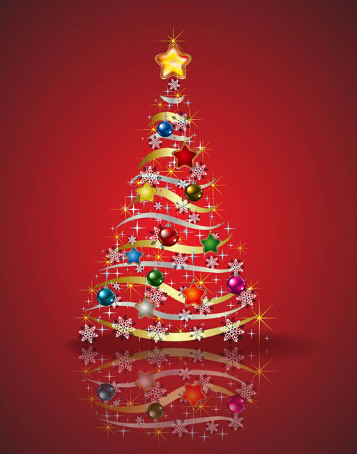 Free Stock Vector – Christmas Tree In Red